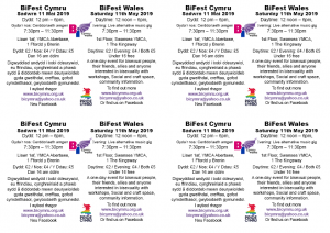 A6 leaflet - back - 4 per page A4 - 4 A6 leaflets, back side with bilingual event information - to be printed on A4 - BiFest Wales 2019