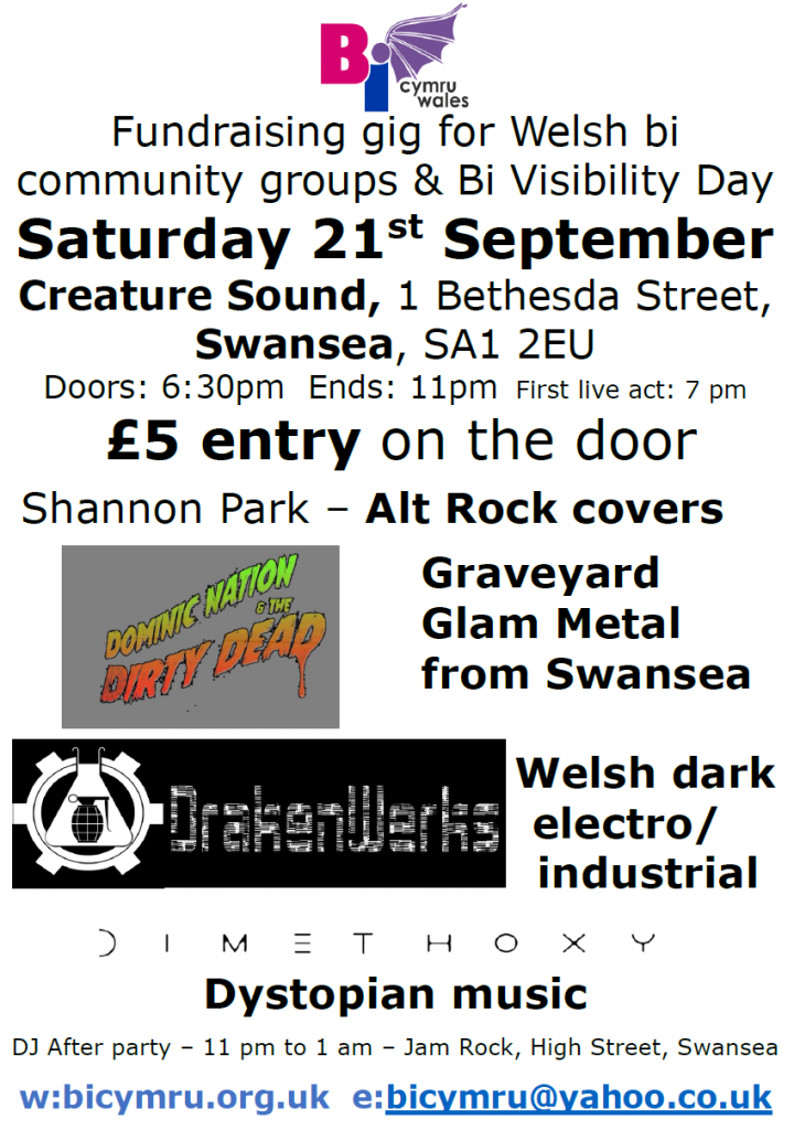 Fundraising gig poster - 21st September 2019 - Creature Sound Swansea
